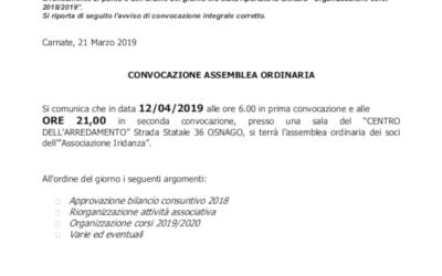 CONVOCAZIONE ASSEMBLEA ORDINARIA IRIDANZA