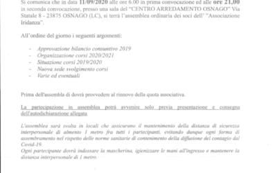 CONVOCAZIONE ASSEMBLEA ORDINARIA IRIDANZA 2020